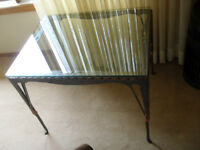 REDUCED TO CLEAR Western Metal Glass Side Table $65.00