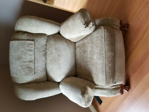 Sofa and recliner chair for sale. Also, a table and 4 chairs.