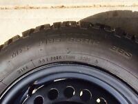 Four P195 65 R14 Goodyear Nordic Winter Tires on Winter Rims