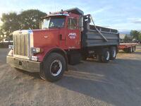 dump truck and trailer