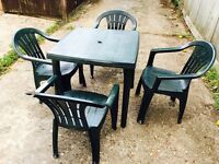 Plastic Garden Outdoor Table & Chairs Dark Green NEED QUICK SALE