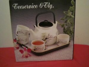 Teapot and Cups, with Serving Tray, Great Gift Idea