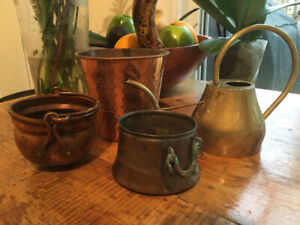 Collection of Copper and Brass Pots