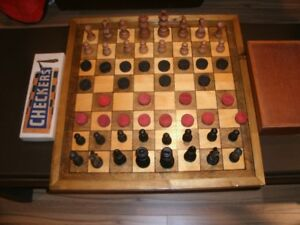 Homemade chess & checkers pieces with homemade board