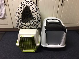 Cat bed cat litter and pet carrier