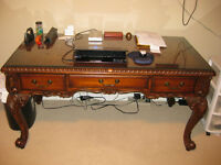 Ornate Glass Top Desk - Solid Wood
