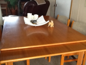 Table, 4 chairs and cupboard teak