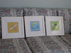 3 framed and matted pictures- ready to hang!