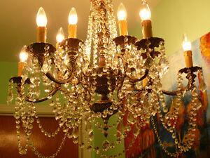 "Majestueux 30""/dx36""/h lustre chandelier vtg/1940 style Louis XV"