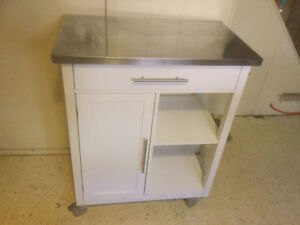 Multipurpose rolling table/stand white cabinet and stainless top