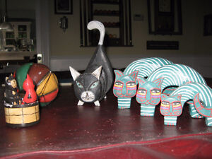 5 Wooden Cats- a set of 3 Nesting- Balloon Cat - Mail Holder Cat