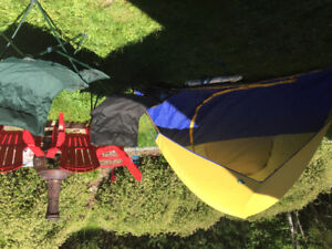 3 person dome tent, string hammock and two cooler chairs !!