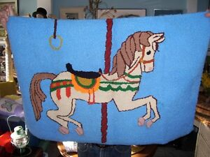 Hand made Circus Horse merry go round Hook Rug  ONE OF A KIND