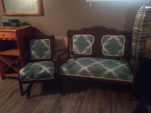 Antique rocking chair and love seat