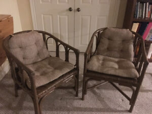 2 Woven Backed Chairs with cushions