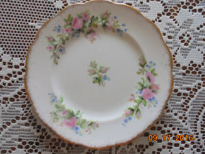 ANTIQUE ROSALYN FINE BONE CHINA MOSS ROSE PATTERN-PRICE REDUCED