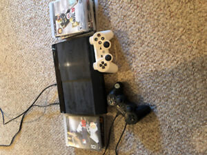 PS3. With 2 controllers and 7 games