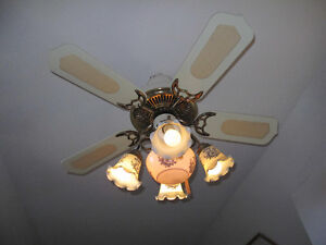 VINTAGE CEILING FAN WITH TWO MATCHING CEILING LAMPS