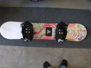 Firefly Glitter 130cm snowboard with riding gear and bag