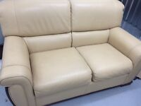 Pale yellow 2 seater sofa and 2 chairs