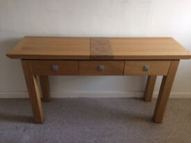 Hall table with 3 draws light Oak