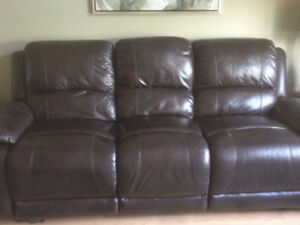 Chocolate Brown Power Leather Couch and Loveseat