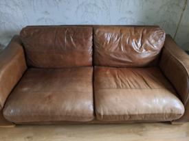 John Lewis Tan Brown Leather Sofa Two Seater