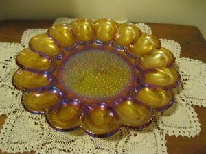 Carnival Glass Egg Plate