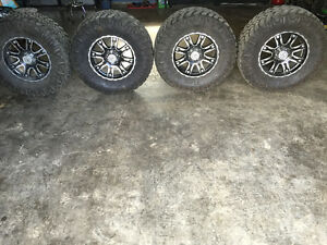 "18"" Black Iron Rims with Nitto Mud Grappler tires 6 bolt"