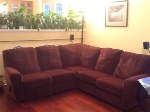 Like New Burgundy Sectional with 2 Built In Recliners
