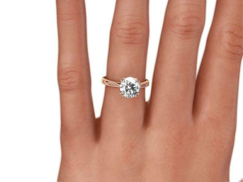 Diamond Round Brilliant Ring 1.5 Ct Wedding Vs1 14 Kt Rose Gold Red 8 Prong