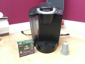 Keurig  with tea filter and 2 K-cups