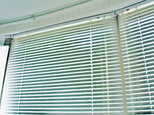 "2 WHITE ALUMINUM MINI BLINDS - 1""- SOLID, NOT THE CHEAP STUFF"
