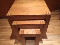 Solid Oak Nest of 3 Lamp Side or Coffee Tables in Great Condition