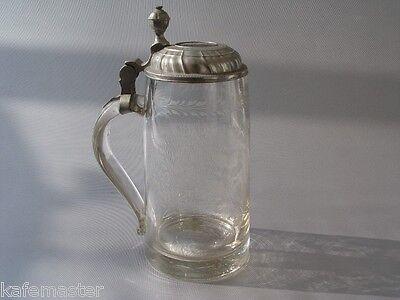 Krug Glas Maßkrug  Zunftkrug der Metzger Biedermeier um 1800