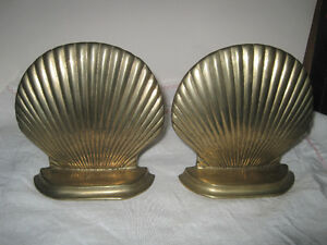 Vintage Mid Century Nautical Solid Brass Seashell Bookends