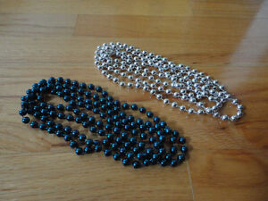 Brand new set of 2 blue and silver beaded necklace London Ontario image 1