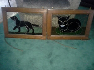 TWO STAINED GLASS WINDOW HANGINGS CAT AND DOG