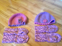 Knitted hat & mittens sets fits ages 4-8