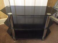 Black glass / chrome TV stand £40 O.N.O