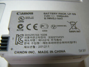 Canon battery LP-E8 for T2I, T3I, T4I, T5I