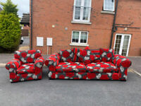 4 seater sofa in floral fabric from Creations & matching armchair £199