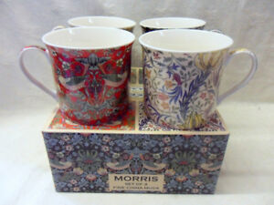 Set of 4 gift boxed William Morris designs fine china palace mugs