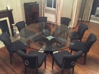 Custom made glass top dining table and chairs
