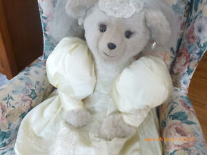 BRIDAL BEAR - Large teddy bear in exquisite wedding gown.