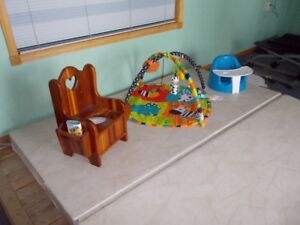 portable toilet , activity mat , bumbo chair