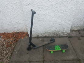 Two Bare Feet Stunt Scooter and Skateboard