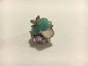 925 Silver Rose Quartz & Amethyst Ring