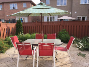 Complete Patio Set for Backyard with Table, Umbrella and 6 Chair