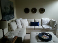 creme leather sectional